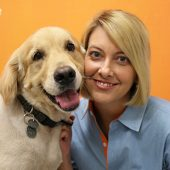 Shelley Parnell and Golden Retriever