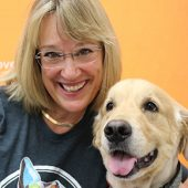 Kim Broome with Golden Retriever