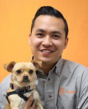 Nick Tran with Dog