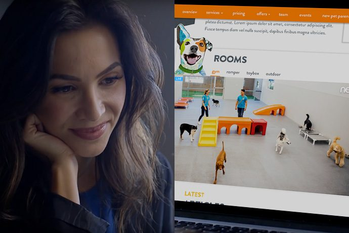 Woman watching dogs playing at Dogtopia of Edmonton Downtown daycare through the webcam.