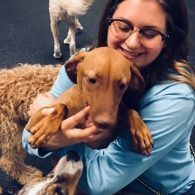 Erin Wickens cuddling with cute dogs