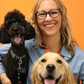 Dr. Antje Joslin, Veterinarian with two dogs