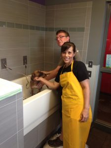 Volunteers Eric Dietrich and volunteer, Naomi Livingston