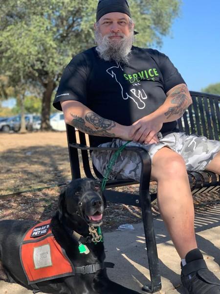 Sam Rubenstein and his dog Solo
