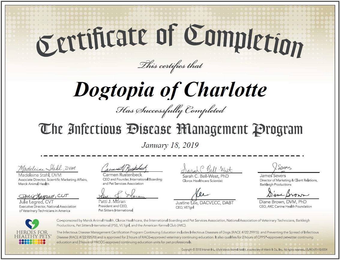 Dogtopia Charlotte Heroes for Healthy Pets Certification